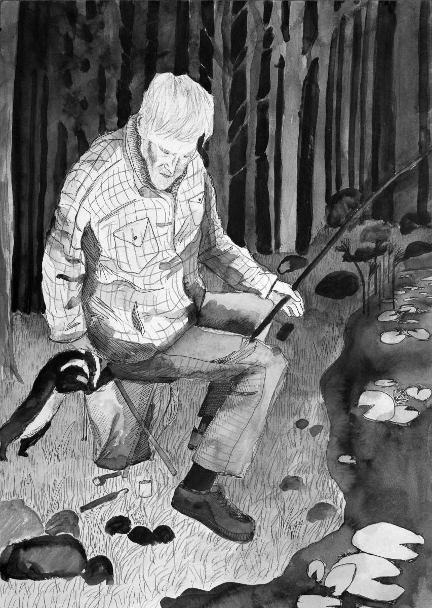 bestefar på fisketur grevling